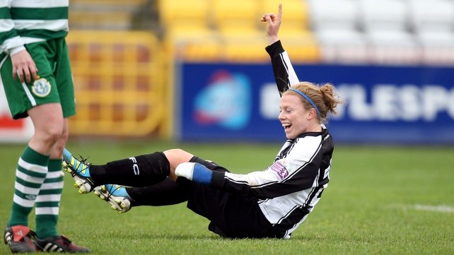 Mary Waldron celebrates her second goal in Tallaght