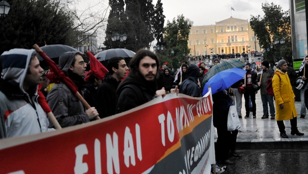 Around 5,700 demonstrators joined protests against the bailout deal