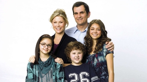 The Dunphys, with Ty Burrell and Sarah Hyland on the right
