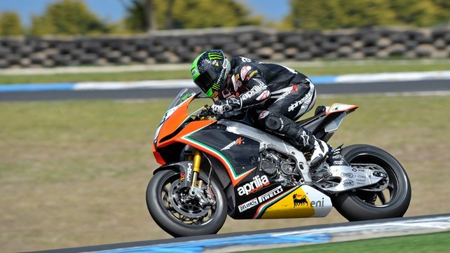 Laverty on his Aprilia Superbike