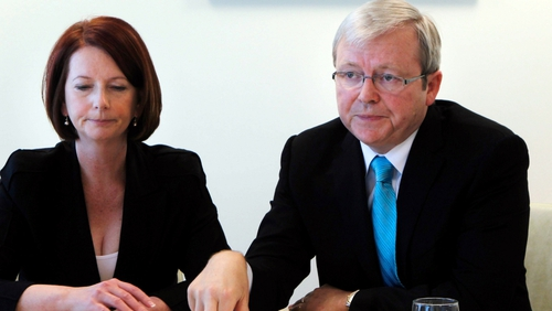 Leadership fight between Julia Gillard and Kevin Rudd is engulfing the minority government
