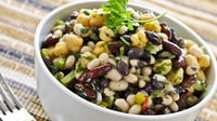 Tasty vegan three bean salad - A tasty vegan salad , easy to make and will save for a few days if chilled in an air-tight container. it would be a healthy lunch for bringing to work. Like many bean salads, it tastes better as it sits and it's even better the next day once the dressing has mingled with the beans and veggies