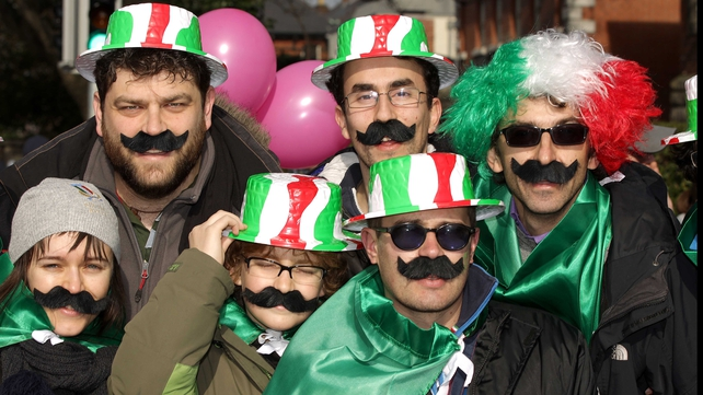 Italy fans basking in the sunshine before the game