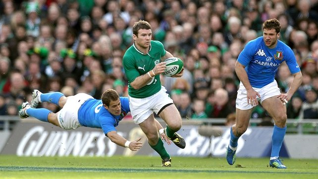 Gordon D'Arcy gets past Tobias Botes