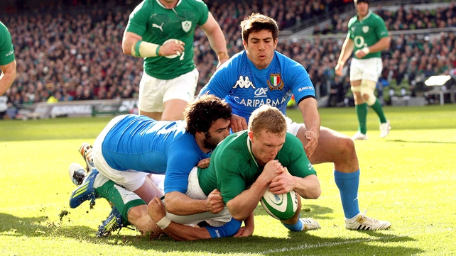 Keith Earls touches down for the opening try as Ireland get their first points of the championship