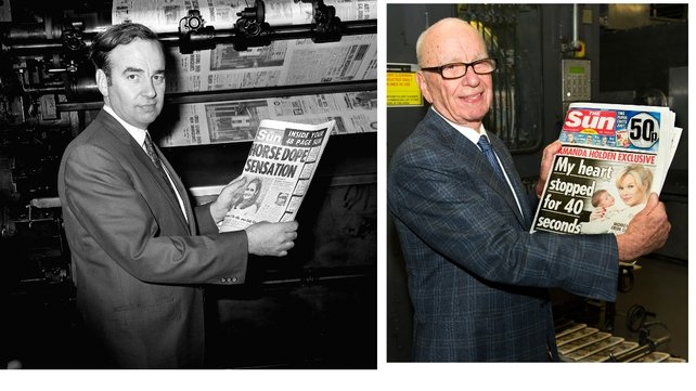 'The Sun On Sunday' as it comes off the presses (R) and Rupert Murdoch with the first edition of 'The Sun' in 1969