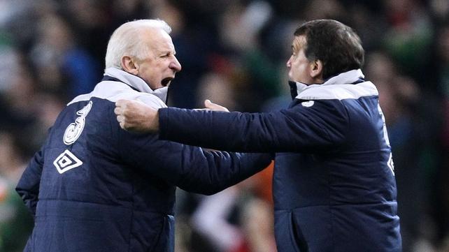 Giovanni Trapattoni and Marco Tardelli celebrate Ireland's equaliser