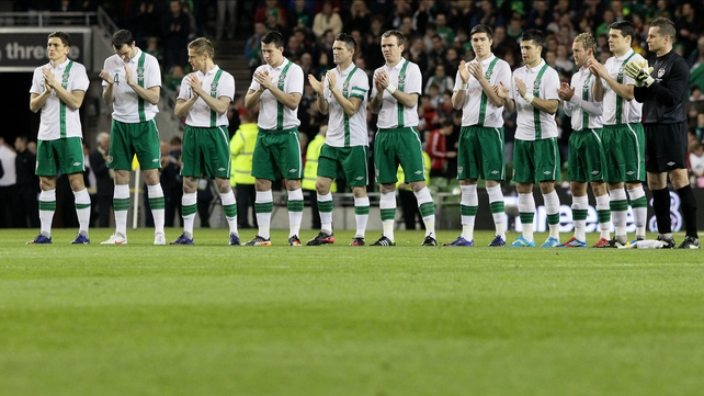 The Republic of Ireland pay tribute to Eamonn 'Chick' Deacy in a minutes applause