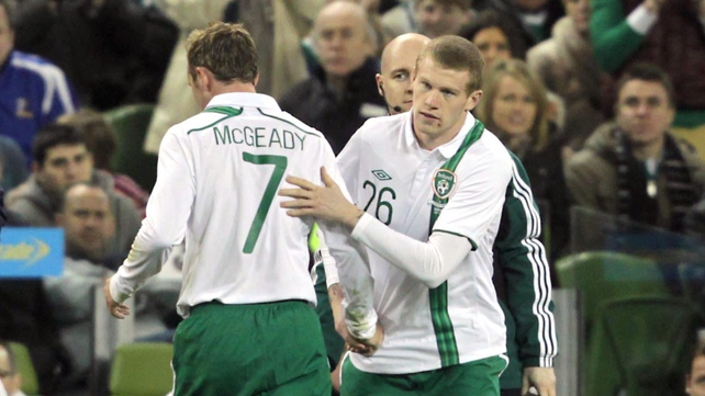 McClean received a tremendous reception from the Aviva crowd as he made his international debut for the Republic