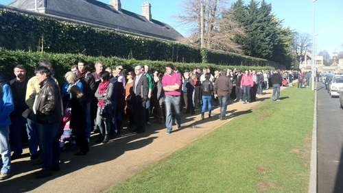 People queueing outside the exhibition this morning - (Credit: Joe Mag Raollaigh)
