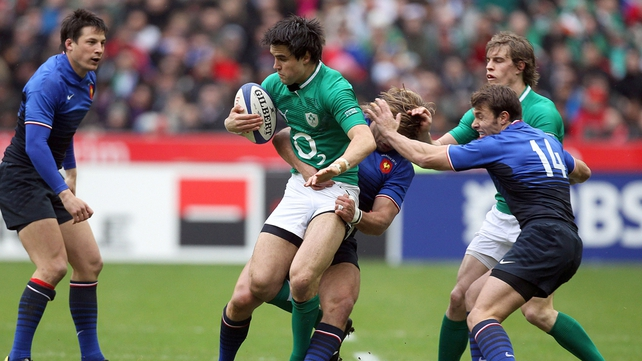 Conor Murray in action early in the game - a leg injury would end his afternoon early later on