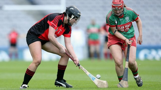 Oulart-The Ballagh's Una Leacy beats Drom & Inch's Therese Shortt to the ball