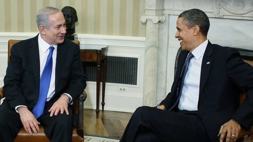 Benjamin Netanyahu and Barack Obama in relaxed mood in the Oval Office