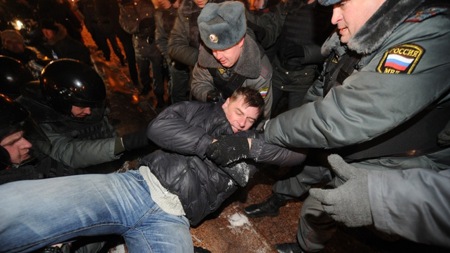 Hundreds of people have been arrested in Moscow this evening
