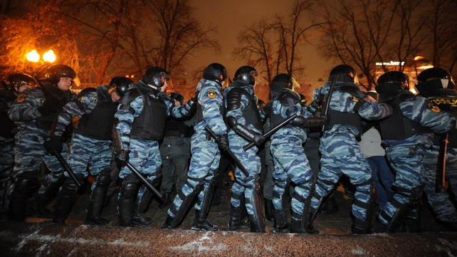 There was a strong police presence in the Russian capital
