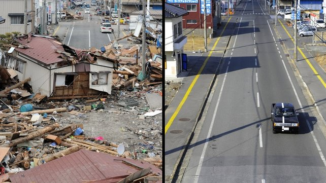 The view of a tsunami hit area of Ofunato, Iwate prefecture on 14 March 2011 (L) and on 15 January 15 2012 (R)