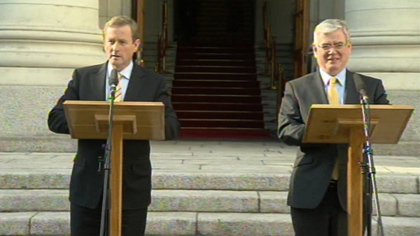The Taoiseach and Tánaiste published the report on the steps of Government Buildings
