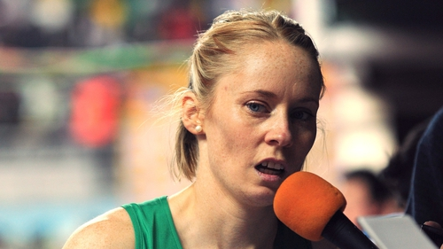 A dejected looking Derval O'Rourke talks to the press after her failure to reach the 60m hurdles final