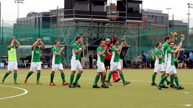 The Ireland hockey team applaud the crowd after their victory over Ukraine