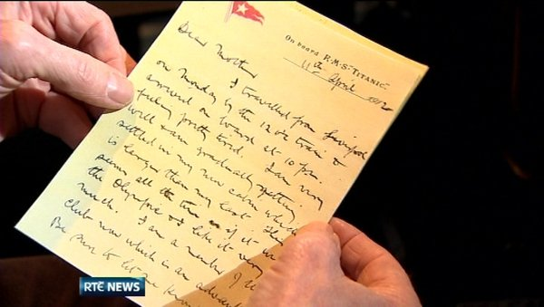 The letter penned on board the ill-fated Titanic days before it sank