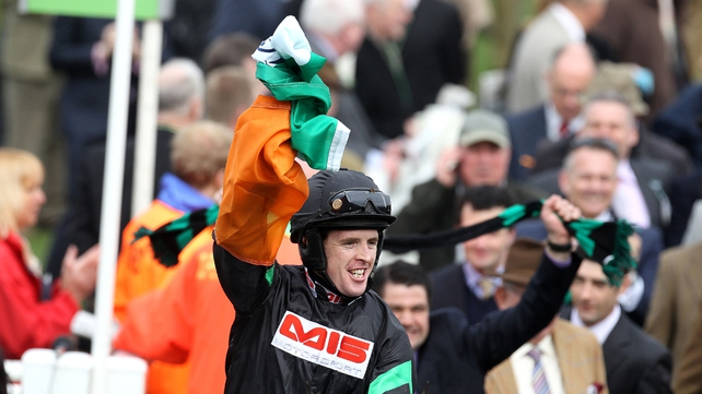 Jason Maguire celebrating a 2012 win at Cheltenham