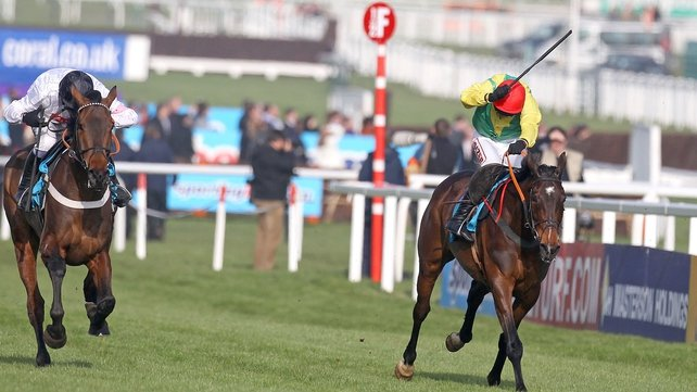 Finian's Rainbow pulls clear of Sizing Europe to win the Queen Mother Champion Chase