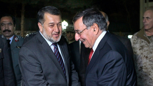 Leon Panetta chats with Afghanistan's Minister of Interior General Bismillah Khan Mohammadi
