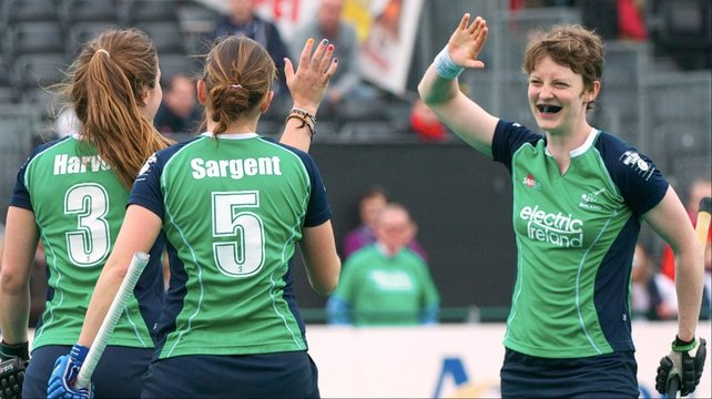 Ireland's Michelle Harvey, Ciodhna Sargent and Sinead Mcccarthy celebrate the 5th goal