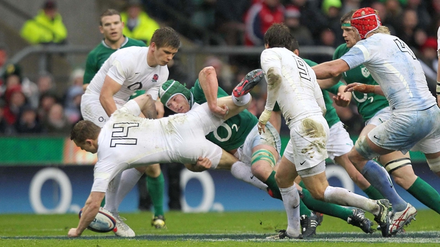 Sean O'Brien tackles England's Chris Ashton