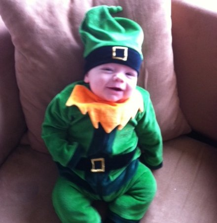 St Patricks Day Celebrations - Dad turns his 6 month old son into real life leprechaun for st patricks day