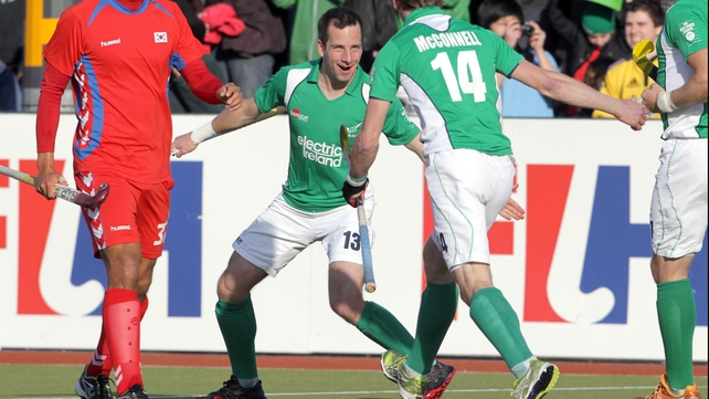 Peter Caruth was on target for Ireland but Korea twice came from behind to secure Olympic qualification