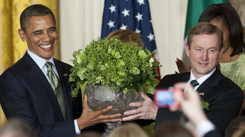 He also recived a large bowl of shamrock from Enda Kenny