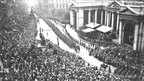 A victory parade through College Green, Dublin marking the end of the First World War. © RTÉ Stills Library 0504/015  The photographer was Joseph Cashman