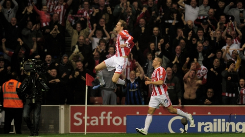 Peter Crouch sent the home crowd into raptures with his fine strike at the Britannia Stadium