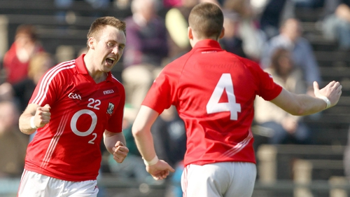 Paul Kerrigan celebrates his telling score as Cork eventually went on to win