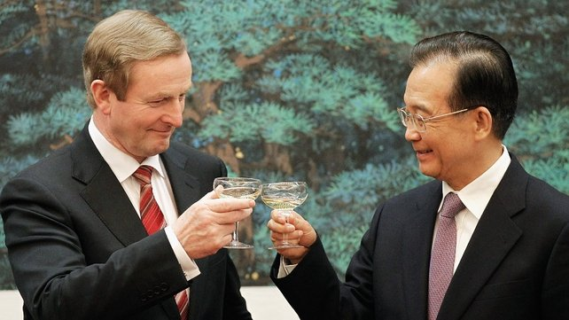 Enda Kenny and Wen Jiabao during the signing ceremony at the Great Hall of the People