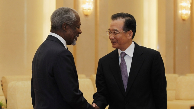 Kofi Annan discussed the Syria crisis with Wen Jiabao in Beijing