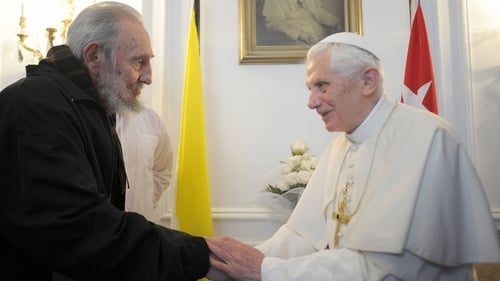 Fidel Castro and Pope Benedict talked for about 30 minutes