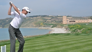Peter Lawrie plays a shot during the second round of the Sicilian Open at Verdura Golf and Spa Resort