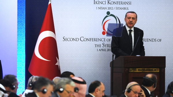 Recep Tayyip Erdogan addresses the opening session of the 'Friends of Syria' conference in Istanbul
