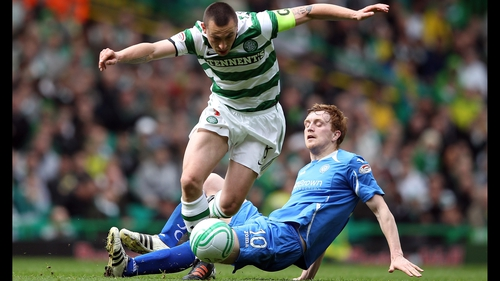 Scott Brown in action for Celtic against St Johnstone today
