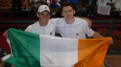 James McGee and Sam Barry following their doubles win in Bahrain