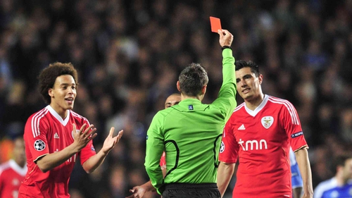 Benfica's Maxi Pereira is sent off by referee Damir Skomina during the first-half of the match