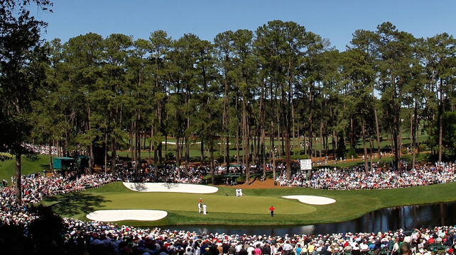 Rory McIlroy and Bubba Watson on the 16th green during their second round at Augusta