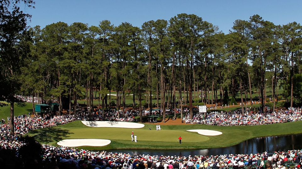 A nice panoramic of the 16th hole as Rory McIlroy and Bubba Watson play their second round