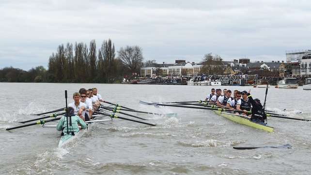The Cambridge (left) and Oxford (right) crews come together, resulting in a broken blade for Dr Hanno Wienshausen of the Oxford crew during the Xchanging University Boat Race