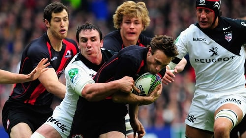 Edinburgh scrum-half Mike Blair goes over for the Scottish side's try