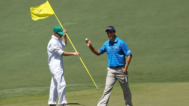 Padraig Harrington hit a hot streak on the back nine to finish on four under par to remain in contention at The Masters
