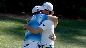 Sergio Garcia & Rory McIlroy have a moment as they both make their first birdie of the third round at the 12th