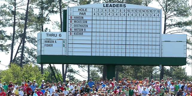 The state of play ahead of Masters Sunday - no Padraig Harrington on the official board yet...!!